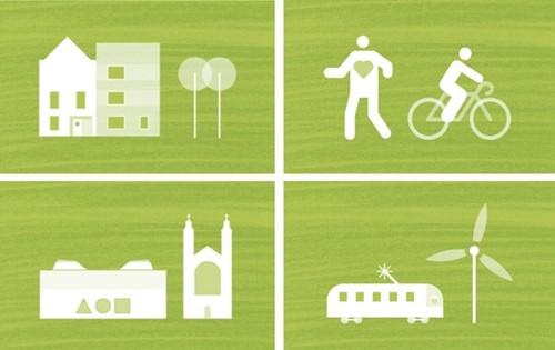 Graphical icons for building, people cycling, houses and a motor home next to a wind turbine